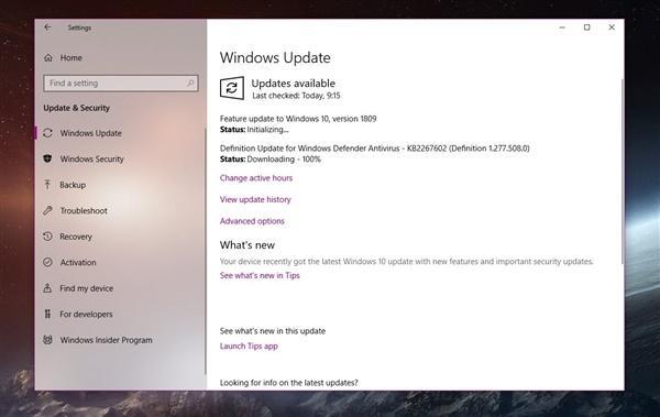 Windows 10 系统1809版本11月更新将缓慢推送:官方ISO镜像即将开放