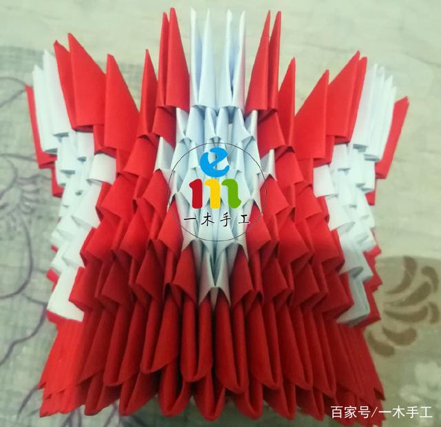 手工DIY三角插折纸红色花篮成品制作教程   教程