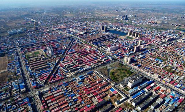 俯瞰河北省雄县县城。新华社记者王晓摄