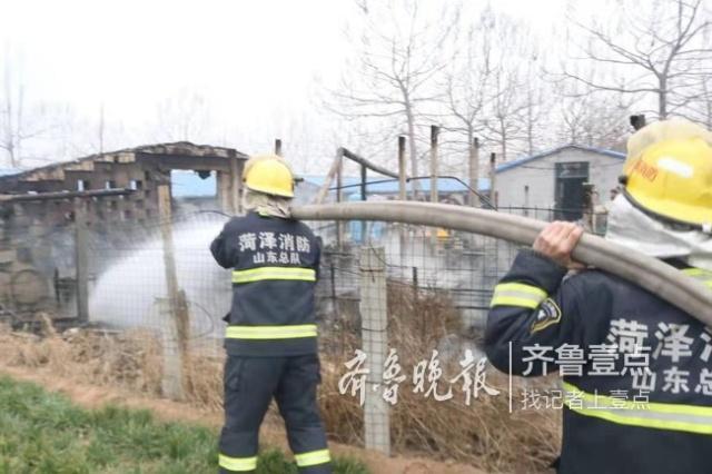 郓城一鸭棚突然起火,消防紧急灭火