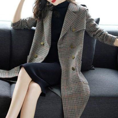 適合三四十歲女人的千鳥格外套,春節穿剛好,顯年輕上檔次