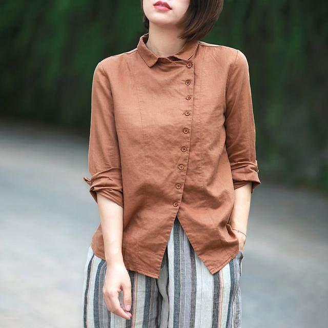天氣越來越熱,棉麻襯衫你穿瞭就知道有多舒適,好美!