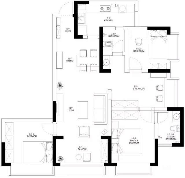 简约美式风格二室二厅装饰 97平方米简约美式风格装饰图片