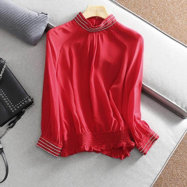 Long sleeved silk shirt