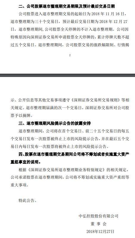 亚博:中弘退风险提示:27日退市整理期结束,公司股票将终止上市