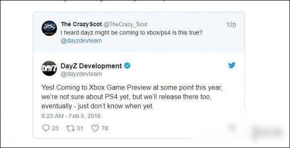 《DayZ》2018年内登陆Xbox One PS4版的时间未定