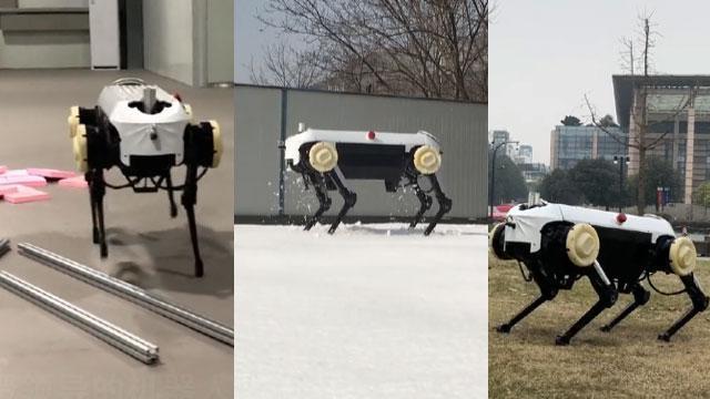 """浙大发布四足机器人""""绝影"""" 踩钢管走雪地令人惊艳"""