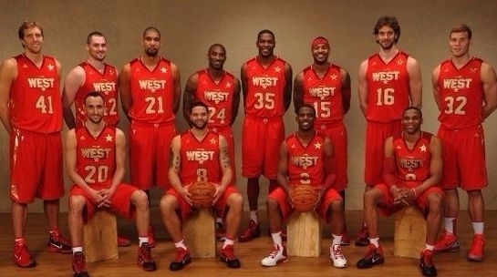 NBA近十年西部全明星合影,科比一共拿了几次