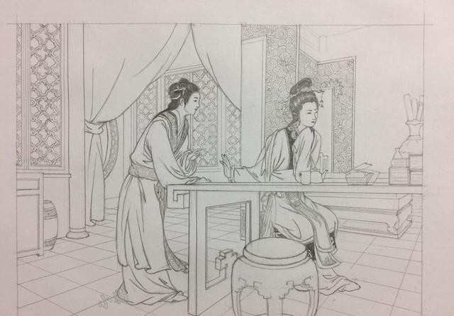 王书晖白描工笔画之《西厢记》